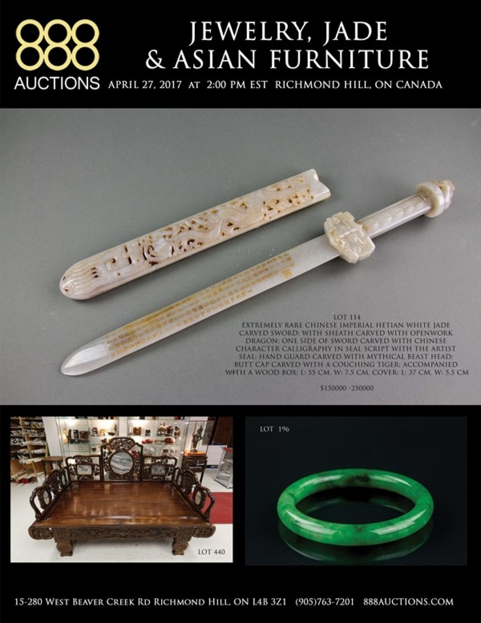NEXT AUCTION: Thursday April 27 JEWELRY, JADE & ASIAN FURNITURE