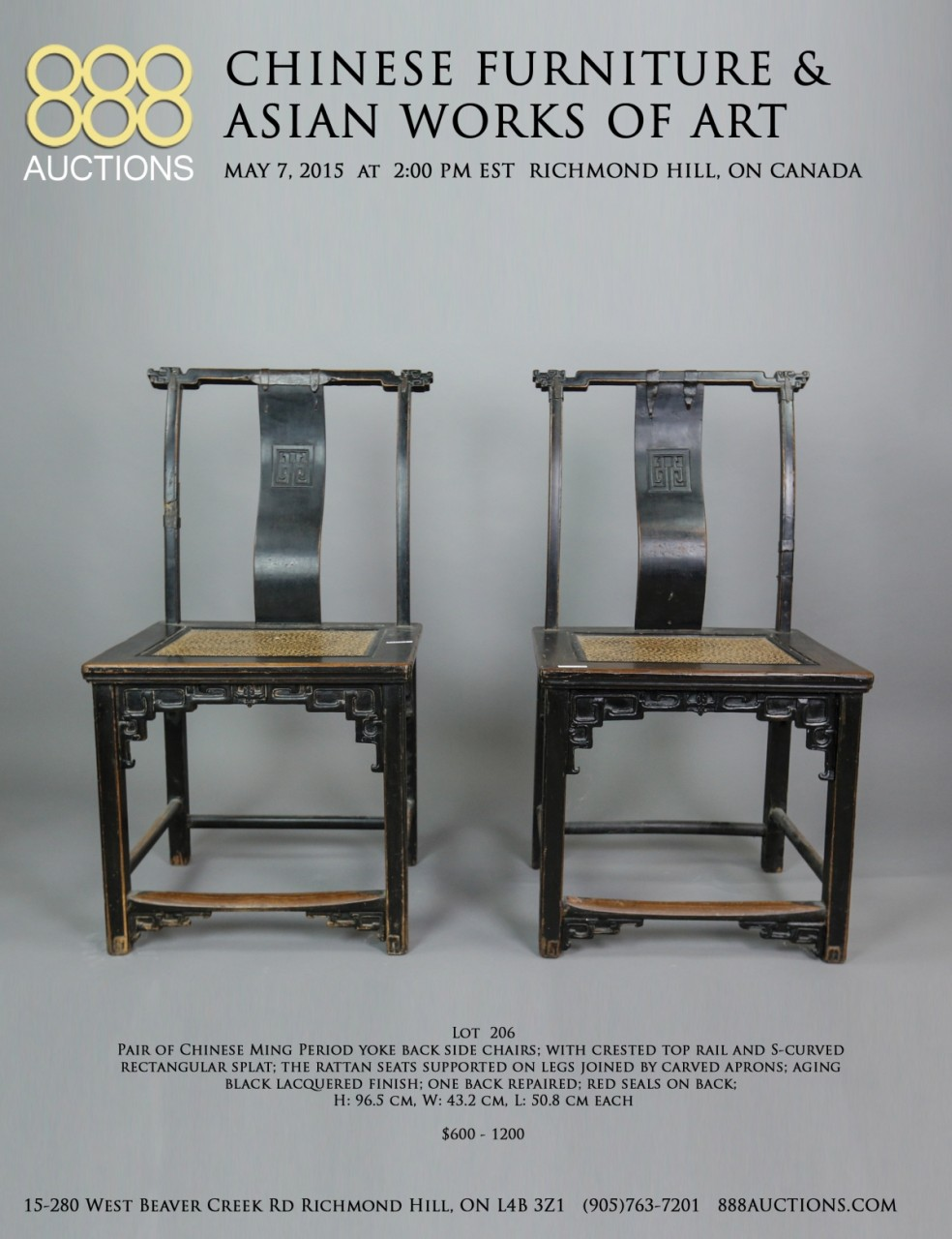 07 MAY 2015 CHINESE FURNITURE & ASIAN WORKS OF ART