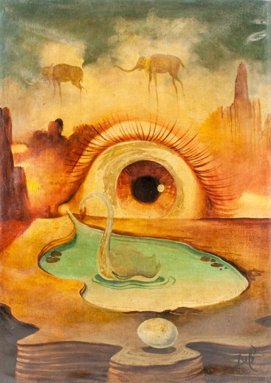 Salvador Dali Spanish Oil Surrealist Scene Signed - Lot #7