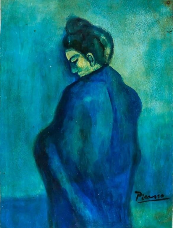 Pablo Picasso Blue Period Mixed Media on Paper COA for ...
